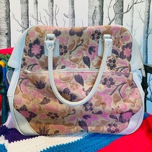 Vintage Samsonite Floral Leather Travel Carry Bag